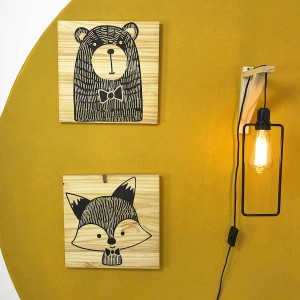 Kit 2 Placas Decorativas Bear & Fox!